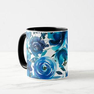 Blue Indigo Floral Flowers Elegant Shabby Chic Mug