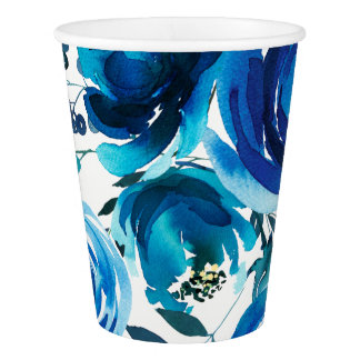 Blue Indigo Floral Flowers Elegant Shabby Chic Paper Cup