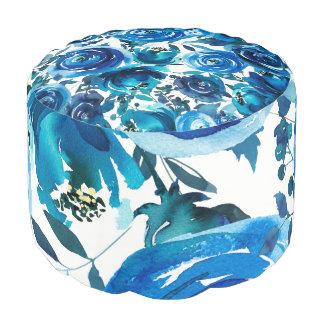 Blue Indigo Floral Flowers Elegant Shabby Chic Pouf