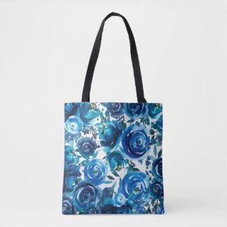 Blue Indigo Floral Flowers Elegant Shabby Chic Tote Bag