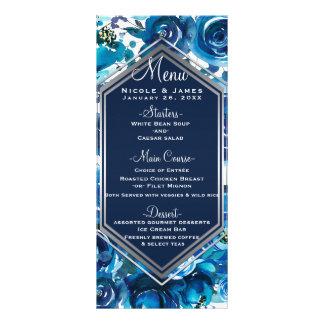 Blue Indigo Floral Flowers Elegant Wedding Menu