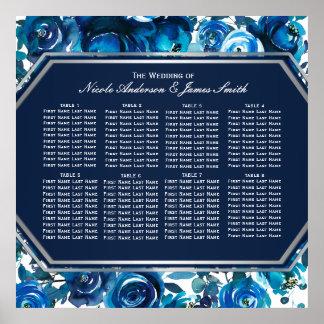 Blue Indigo Floral Flowers Wedding Seating Chart