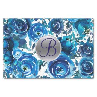 Blue Indigo Floral Monogram Letter Initial Tissue Paper