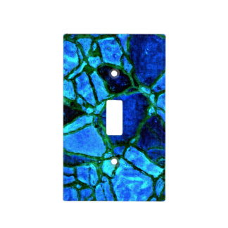 Blue Indigo Mosaic Pattern Light Switch Cover