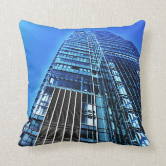 Blue Industrial Building Throw Pillow