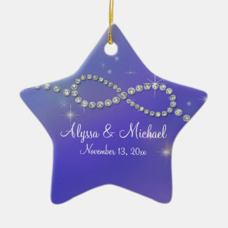 Blue Infinity Symbol Sign Infinite Love Twinkling Ceramic Ornament