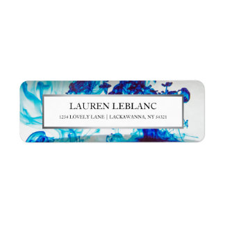 Blue Ink Silver Border Return Address