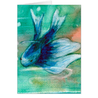 Blue Inky Betta Fish Card