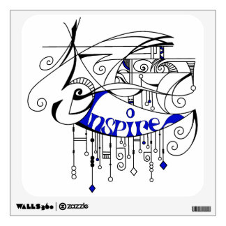 Blue Inspire In Lines and Dangles Wall Decal