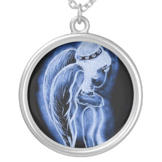 Blue Inverted Sideways Angel Silver Plated Necklace