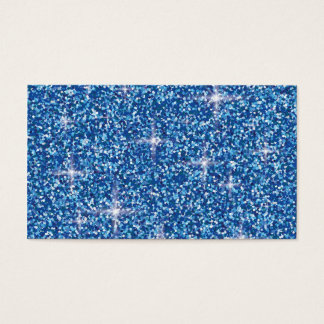 Blue iridescent glitter business card