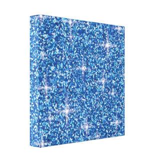 Blue iridescent glitter canvas print