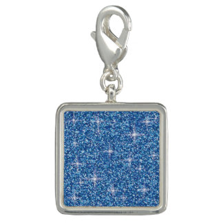 Blue iridescent glitter charm