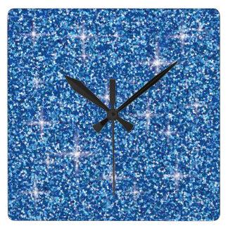 Blue iridescent glitter clocks