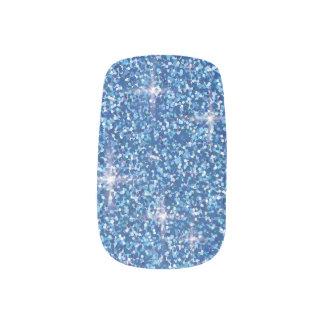 Blue iridescent glitter minx nail art
