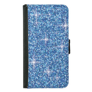 Blue iridescent glitter samsung galaxy s5 wallet case
