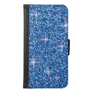 Blue iridescent glitter samsung galaxy s6 wallet case