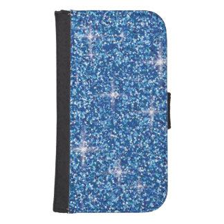 Blue iridescent glitter samsung s4 wallet case