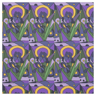 Blue Iris Floral Abstract Fabric