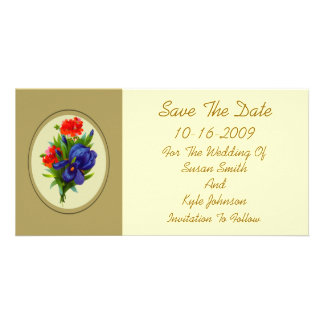 Blue Iris Flower Bouquet Wedding Save The Date Photo Cards