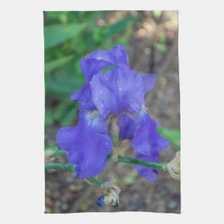 Blue iris flower kitchen towel