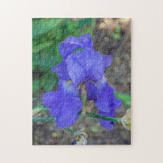 Blue iris flower photo puzzle