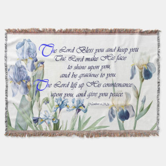 Blue Iris Flowers Floral Blessing Throw