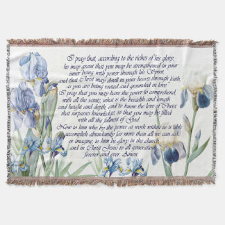 Blue Iris Flowers Floral Ephesians Pray Throw