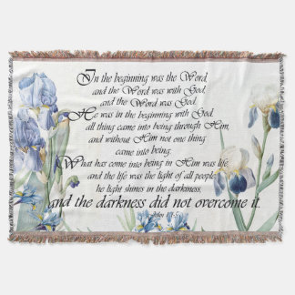 Blue Iris Flowers Floral John Word Throw