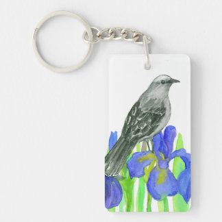 Blue Iris Flowers Mockingbird Keychain