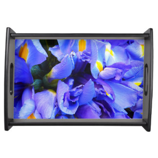 Blue Iris flowers Serving Tray