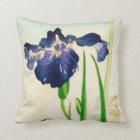 Blue Iris - Japanese watercolor print Throw Pillow