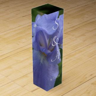 Blue Iris Monogrammed Wedding Favors Wine Box