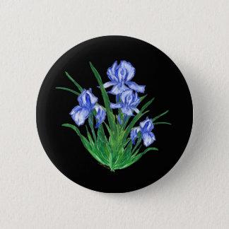 Blue Iris on black 2 Inch Round Button