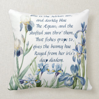 Blue Iris Poem Botanical Irises Flowers Floral Throw Pillow