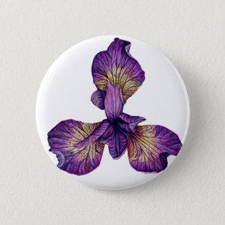 Blue Iris Siberica Flower 2 Inch Round Button