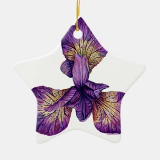 Blue Iris Siberica Flower Ceramic Ornament