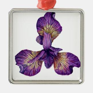 Blue Iris Siberica Flower Metal Ornament