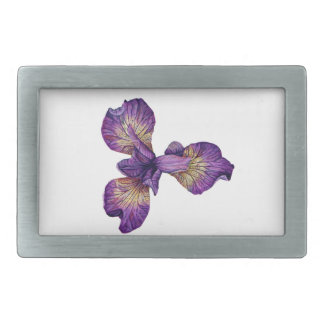 Blue Iris Siberica Flower Rectangular Belt Buckle