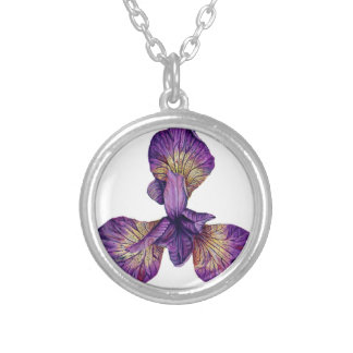 Blue Iris Siberica Flower Silver Plated Necklace