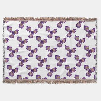 Blue Iris Siberica Flower Throw Blanket