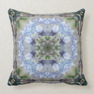 Blue Iris Star Mandala Throw Pillow