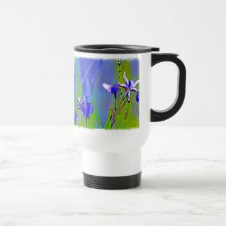 Blue Iris Watercolor Floral Art Travel Mug