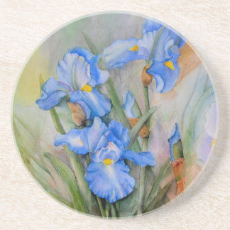 Blue Iris watercolour Coaster