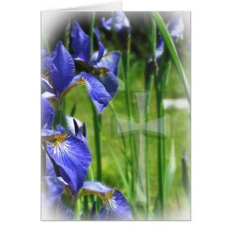 Blue Iris with Cross Card