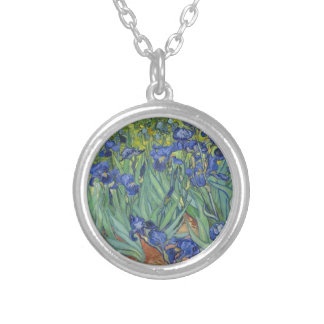 Blue Irises Silver Plated Necklace