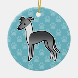 Blue Irish Italian Greyhound Cartoon Dog Ceramic Ornament