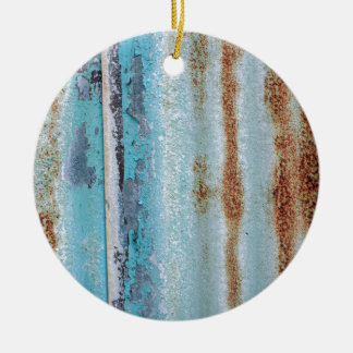 Blue iron texture wall round ceramic ornament
