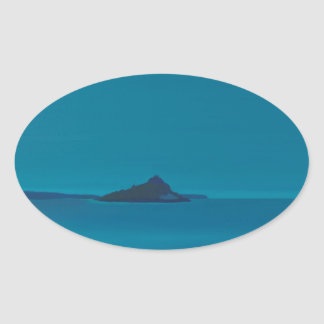 Blue island. oval sticker