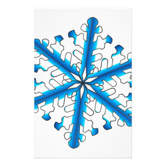 Blue Isolated Snowflake Stationery